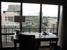"""Water View"" room from Westin Seattle - but only if you stood next to the window and looked left to Lake Union"